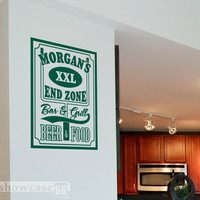 Personalized End Zone Bar & Grill - Vinyl Wall Art - FREE Shipping - Are you ready for some FOOTBALL - Fun Football Wall Decal