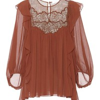 Lace-panelled silk blouse