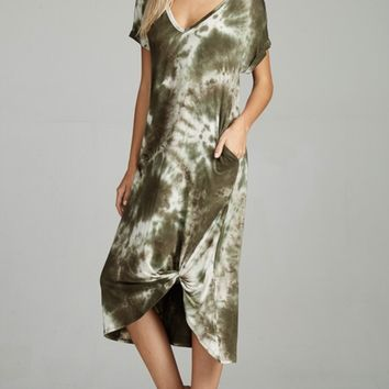 Tie Dyed Comfy Dress-Olive
