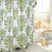 """Royal Bath Easy On (No Hooks Needed) PEVA Non-Toxic Shower Curtain Liner (70"""" x 72"""") with Built in Hooks - Beacon Hill Sage/Ivory"""