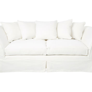 "Shabby Chic, Grace 97"" Slipcovered Sofa, White, Sofas & Loveseats"