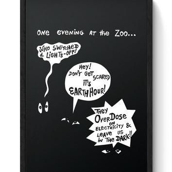 Zoo Animal Conversation During Earth Hour Laminated Framed Poster
