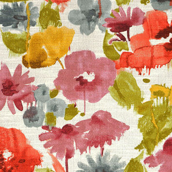 Coral and Grey Artistic Floral Upholstery Fabric - Pink Green Floral Curtain Fabric - Watercolor Design Fabrics Online - Yellow Floral Decor