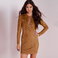 Light Tan Lace Up Long Sleeve Dress