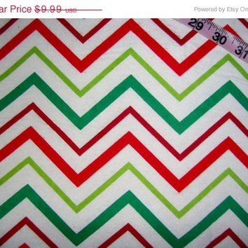 Flannel Christmas fabric with Chevrons cotton quilting sewing material by the yard