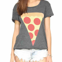 GrayYummy Pizza Print T-shirt
