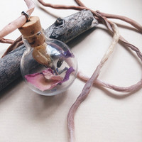 love witch bottle necklace - real flower glass vial necklace - silk cord necklace - witchcraft jewelry - dried flowers - love magic