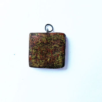 Polymer Clay Pendant - Polymer Clay Charm - Brown and Gold Pendant - Square Pendant - Necklace Pendant - Fashion Jewelry - Abstract Pendant