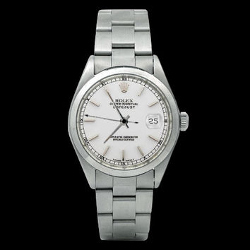 Rolex date just watch white stick dial SS oyster perpetual