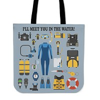 Scuba Equipment Linen Tote Bag