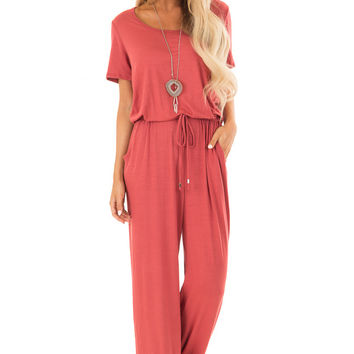 Rust Short Sleeve Jumpsuit with Waist Drawstring