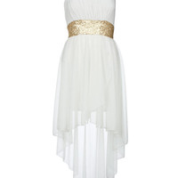 Cream Sequin Waist Mixi Dress - Clothing - desireclothing.co.uk