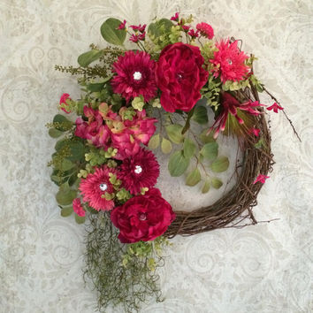 Sparkle Jewel Spring Wreath, Valentines Day Wreath, Valentine Wreath, Front Door Wreath, Silk Floral Wreath, Mother's Day Gift, Decor, Etsy