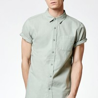 On The Byas Creator Short Sleeve Button Up Shirt - Mens Shirt - Green