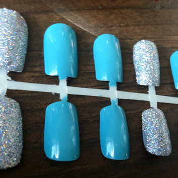 Blue Fake Nails with Silver Glitter Accent Nails