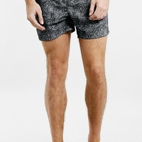 Men's Topman Monochrome Paisley Print Swim Trunks