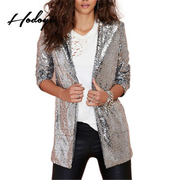 Hodoyi Women Fashion New Solid Silver Sequined Coats Pockets Casual Long Sleeve Outwears Turn-down Collar Cardigan Jacket Blazer