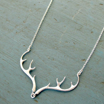 Silver Antler Necklace Deer Antler Jewelry Silver Necklace Country Wedding Gift Country girl Bridesmaid Jewelry
