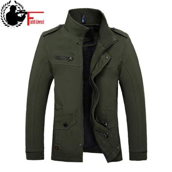 2017 Autumn Men Slim Fit Military Jacket Coats Outerwear Stand Collar Casual Coats Male Business Style Army Green Clothes Khaki