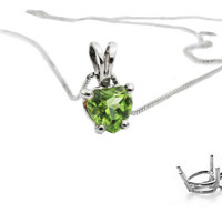"Peridot Heart Pendant in 14K White gold including 16.5"" chain"