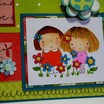 Play, Imagine, Believe - Handmade Greeting Card - Stamped Image of Girls in Flowers
