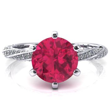 Elysia Round Ruby 6 Prong 3/4 Eternity Diamond Accent  Ring