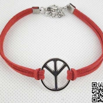 Love peace symbol bracelet, lovely Korean velvet rope charm bracelet, personalized classmate friendship gift