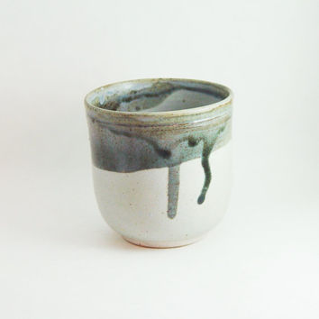 Porcelain Tea Bowl, 8 oz ounce Grey & Lavender, Wine Glass Tumbler / Unique Coffee Mug Cup Handleless, Handmade Wheel Thrown yunomi pottery