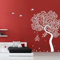 Vinyl Wall Art Leafy Tree with BirdsWall Art Home by WowWall