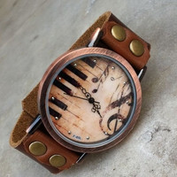 2013 New man vintage dial Music notes Designer fashion genuine cow leather quartz watch for women   NWB044 = 1931795204
