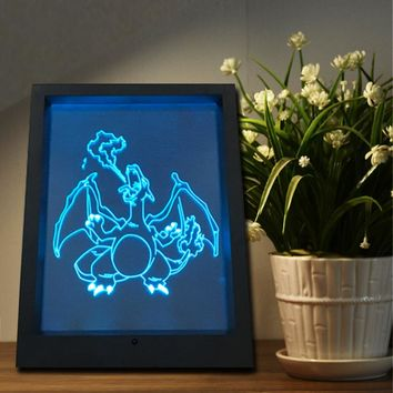 Fire Breathing Dragon 3D LED Night Light Framed