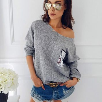 Sequined Pocket Outer Seam Long Sleeve Stretch T-Shirt