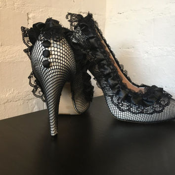 Sexy Black Lace Heels Party Heels Going Out Shoes Gothic shoes