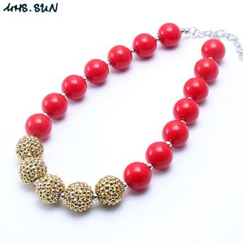 MHS.SUN 2pcs/lot Red+Gold Christmas Kid Chunky Bubblegum Necklace Chunky Girl Children Bead Necklace Jewelry Christmas Gift