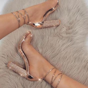 Rhinestone Ankle Strapped Thick High Heels Sizes 5.5-9.5
