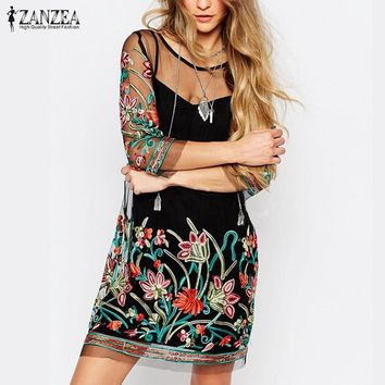 Floral Embroidery Lace Mesh Mini Dress or Tunic Blouse ( Sizes S - 5XL)