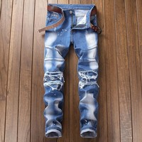Strong Character Patchwork Cycling Jeans [3444986773597]