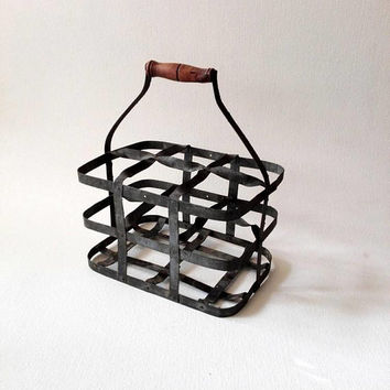 Old, french, iron, vintage basket, Bottle holder, Bottle storage, industrial decor, decor rustic, vintage storage, shabby, industrial