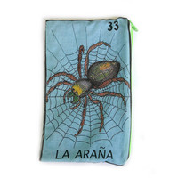 "La Araña ""The Spider"" Mexican Loteria Makeup Bag - School Supply Pouch"