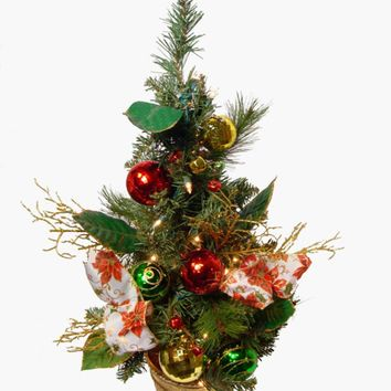 2' Poinsettia and Ball Ornament Pre-Lit Decorated Christmas Tree - Clear Lights