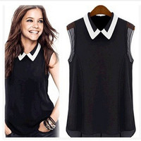 Women's Fashion Summer Sexy Elegant Chiffon Sleeveless Casual Collar Smart Blouse Top Tank Shirt T-shirt   _ 2429