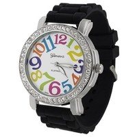 Black Geneva Women's Platinum Crystal Rhinestone Silicone Colored Numbers Watch