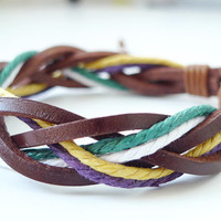Brown Leather Multicolor Rope  Braided Bracelet white green