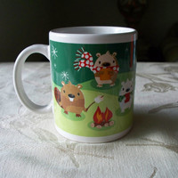 Vintage Ceramic Christmas Hot Chocolate Mug