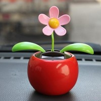 Car-styling AUTO Solar Powered Dancing Flower Swinging Animated Dancer Toy Car Decoration New July19