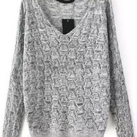 Light Grey V-neck Long Sleeve Sweater