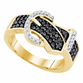 10kt Yellow Gold Womens Round Black Color Enhanced Diamond Belt Buckle Band Ring 1/2 Cttw