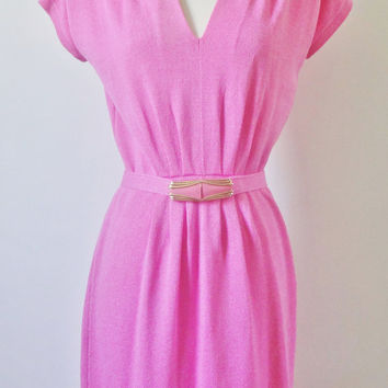 Vintage 1980s St. John Bubblegum Pink Dress Size Medium