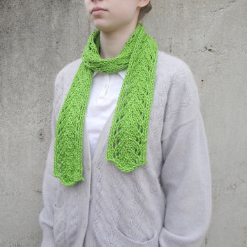 Thin Green Scarf, Merino/Silk, Knitted, Long Skinny Scarf, Women & Teen Girls, Bright Lime Green Chartreuse