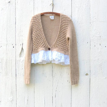 Cropped Cardigan , Upcycled clothing , Tan boho bolero , med large refashioned sweater , one of a kind clothing eco friendly by weralovenow